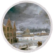 Winter Scene With A Man Killing A Pig Round Beach Towel