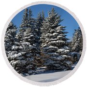 Winter Scenic Landscape Round Beach Towel