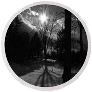 Winter Shadow Round Beach Towel