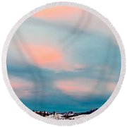 Winter Sky Over Lake Laberge Round Beach Towel