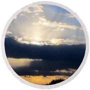 Winter Skyscape Round Beach Towel