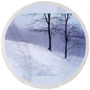 Winter Slope Round Beach Towel