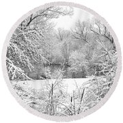 Winter Snow At Huron River Round Beach Towel