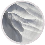 Winter Snow Drift Sculpture  Round Beach Towel