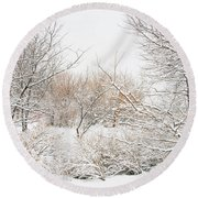 Winter Solitude Round Beach Towel