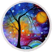 Winter Sparkle Original Madart Painting Round Beach Towel by Megan Duncanson