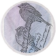Winter Sparrows 2 Round Beach Towel