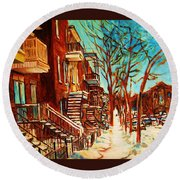 Winter Staircase Round Beach Towel