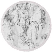 Winter Starkness Round Beach Towel