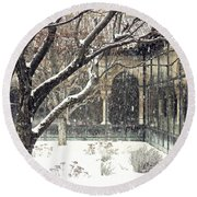 Winter Storm At The Cloisters 3 Round Beach Towel