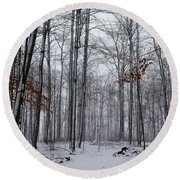 Winter Storm In The Forest Round Beach Towel
