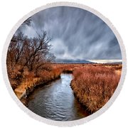 Winter Storm Over Owens River Round Beach Towel