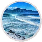 Winter Storm Surf At Ho'okipa Maui Round Beach Towel