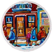Winter Street In Saint Henri Round Beach Towel