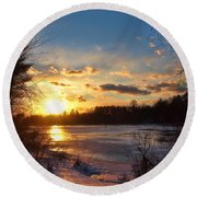 Winter Sundown Round Beach Towel