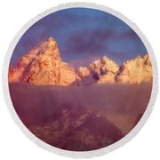 1m9333-winter Sunrise On Teton Range Round Beach Towel