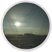 Winter Sunrise On The Corn Fields 02 Round Beach Towel