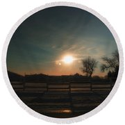 Winter Sunrise On The Farm 02 Round Beach Towel
