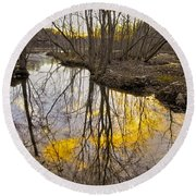 Winter Sunset At Williston Mill Round Beach Towel