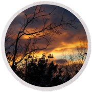 Winter Sunset In The Rogue Valley Round Beach Towel