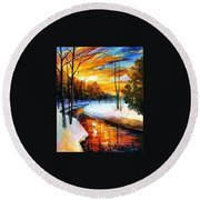Winter Sunset - Palette Knife Oil Painting On Canvas By Leonid Afremov Round Beach Towel