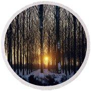 Winter Sunset Through The Trees Round Beach Towel