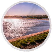 Winter Sunshine Round Beach Towel by Dawn OConnor
