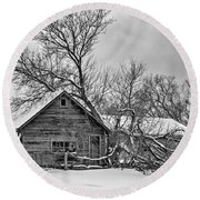 Winter Thoughts Monochrome Round Beach Towel