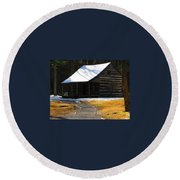 Winter Time At Carter Sheilds Place Round Beach Towel