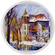 Winter Town - Palette Knife Oil Painting On Canvas By Leonid Afremov Round Beach Towel