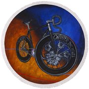 Winter Track Bicycle Round Beach Towel