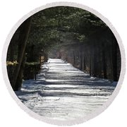 Winter Trail Round Beach Towel