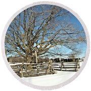 Winter Tree And Fence Round Beach Towel