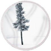 Winter Tree Round Beach Towel