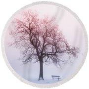 Winter Tree In Fog At Sunrise Round Beach Towel