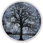 Winter Tree In Snowfall Round Beach Towel