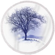 Winter Tree On Hill  Round Beach Towel