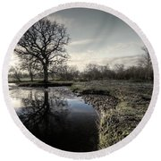 Winter Tree On The River Culm Round Beach Towel