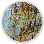 Winter Tree Reflections Round Beach Towel