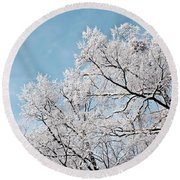 Winter Tree Scene Round Beach Towel