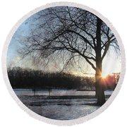 Winter Tree Sunset Round Beach Towel