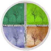 Winter Trees  Round Beach Towel by David Dehner