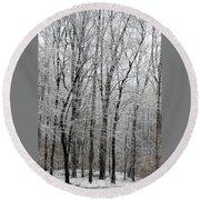 Winter Trees Round Beach Towel