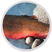 Winter Trout Round Beach Towel
