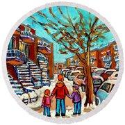 Winter Walk Montreal Paintings Snowy Day In Verdun Montreal Art Carole Spandau Round Beach Towel