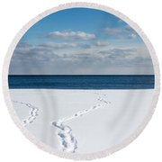 Winter Walks Round Beach Towel