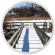 Winter Walkway Round Beach Towel