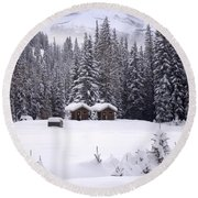 Forest Snow Blanketed Privies - Winter In Banff, Alberta Round Beach Towel