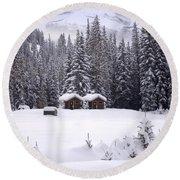 Forest Snow Blanketed Privies - Winter In Banff, Alberta Round Beach Towel