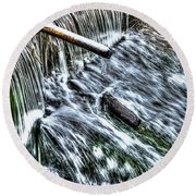 Winter Waterfall 2 Round Beach Towel
